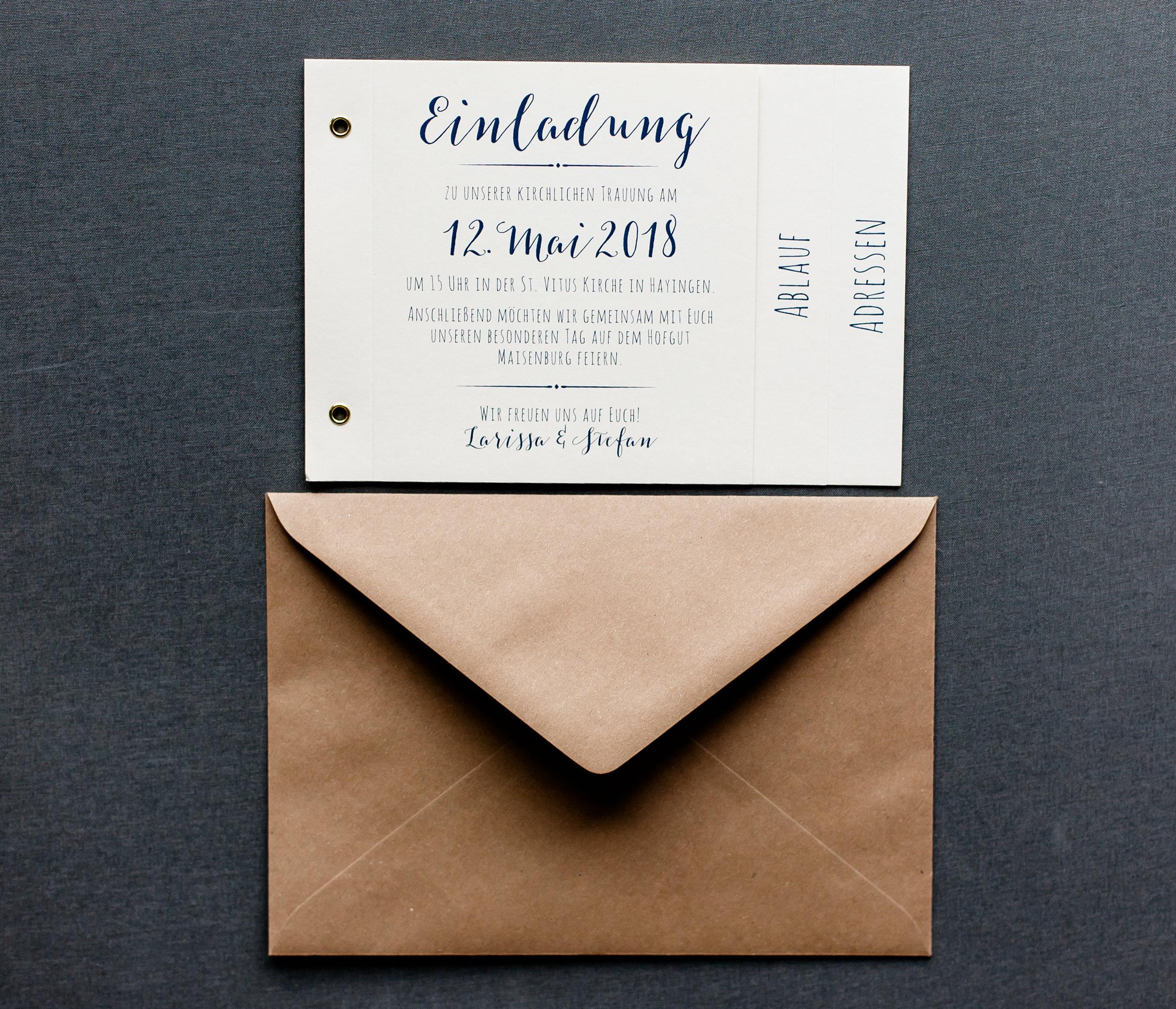Booklet Einladung und Briefumschlag Kraftpapier