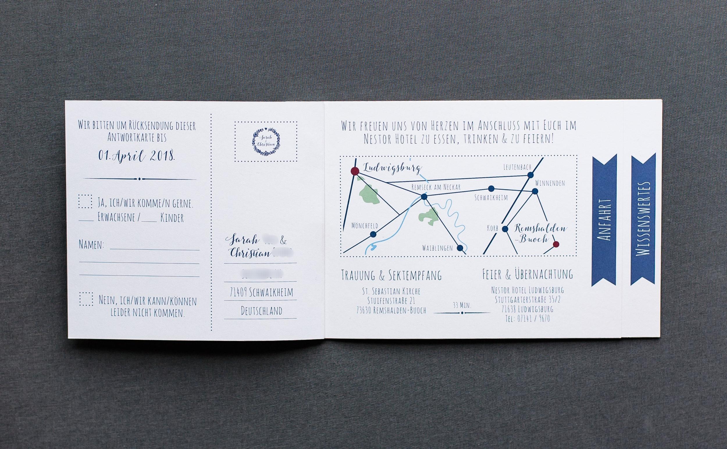 Booklets Einladung, geöffnet, Innenseite 2