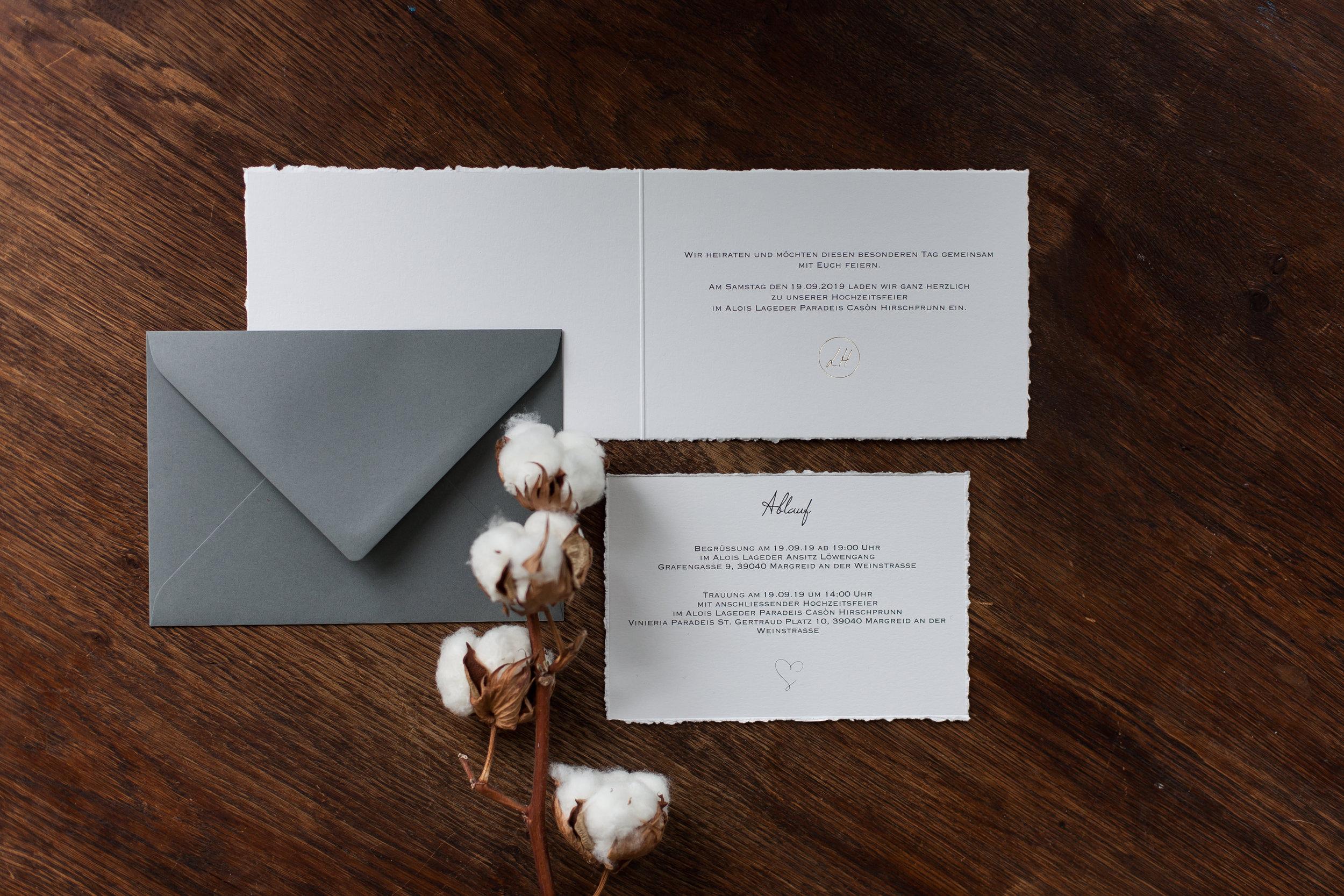 aufgeklappte Klappkarte mit handgefertigtem Büttenrand und Einleger mit dunkelgrauem Briefumschlag