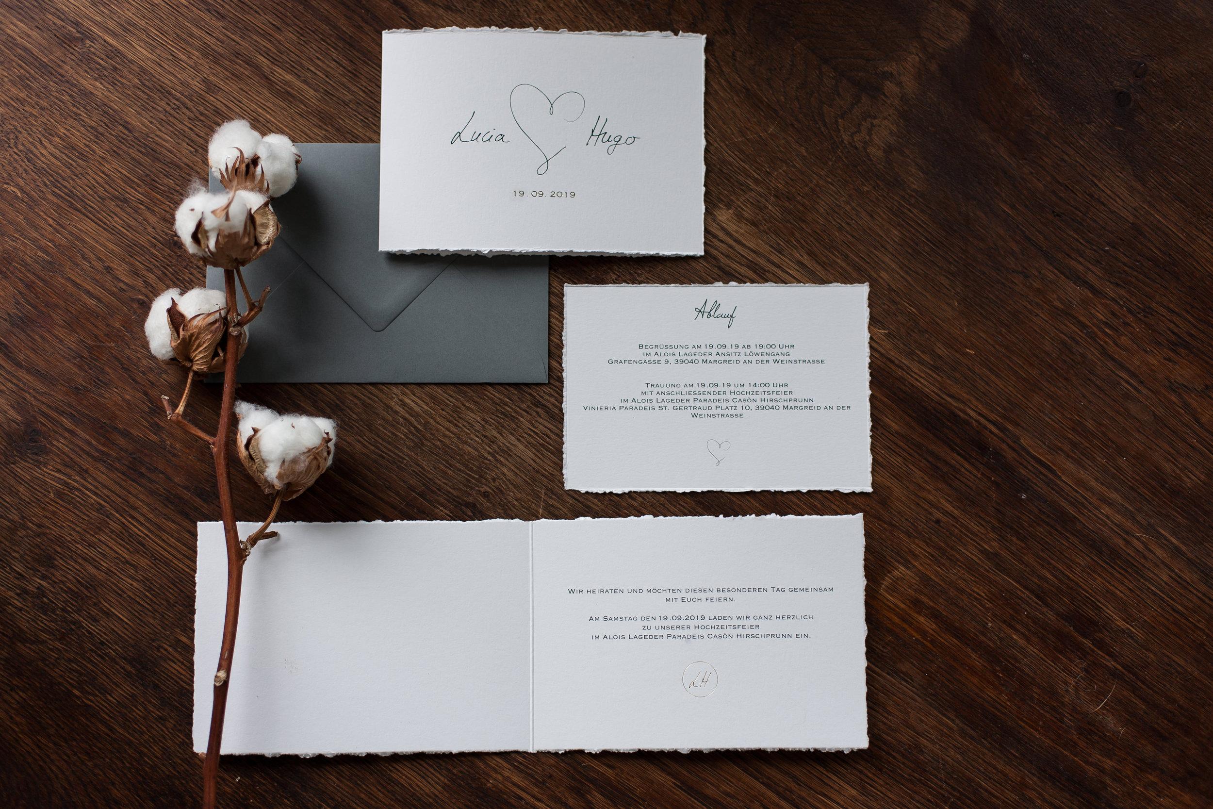 Klappkarte Vorder- und Innenseite mit handgefertigtem Büttenrand mit Einlegekarte und Briefumschlag