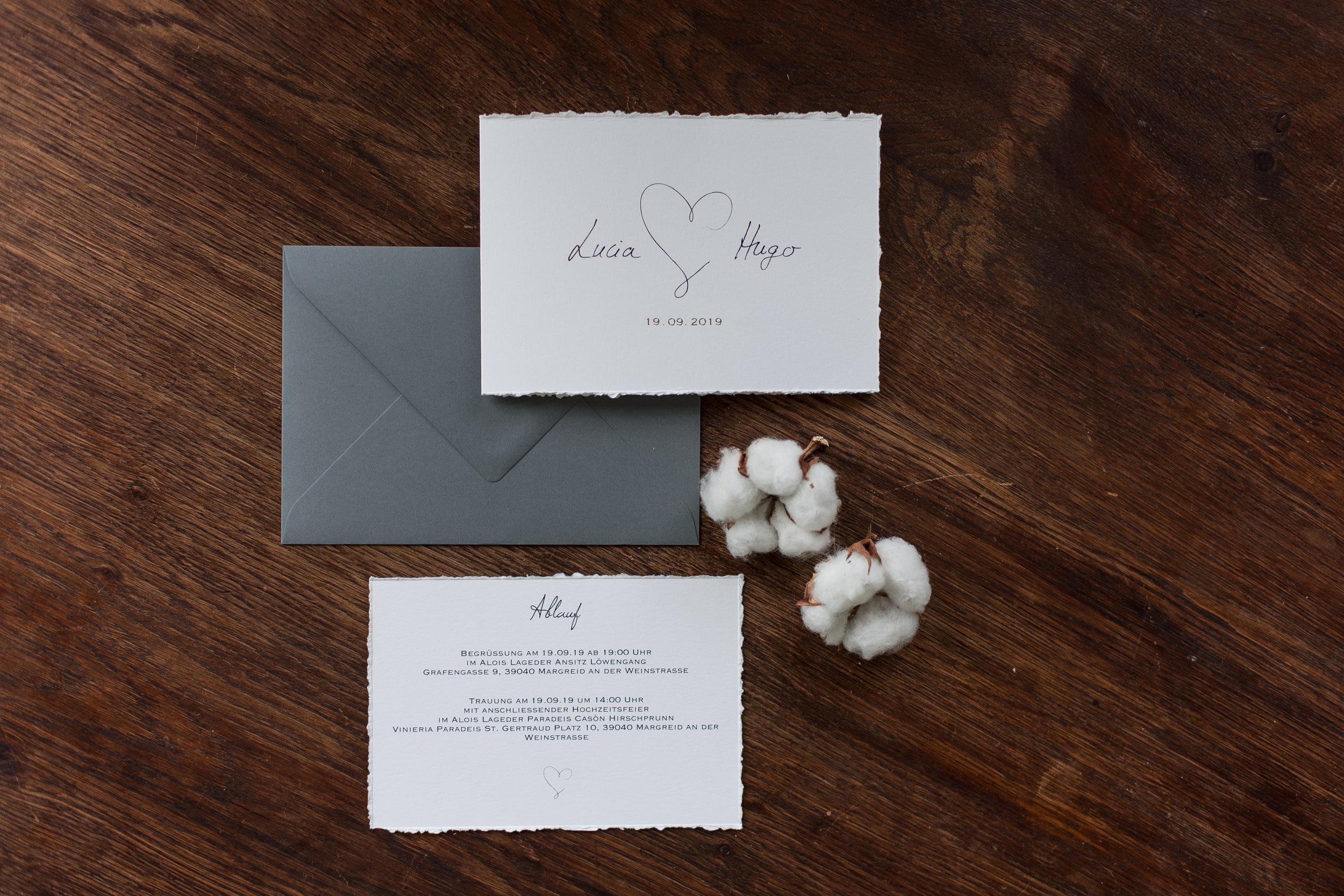zusammengefaltete Klappkarte mit Einlegekarte aus handgefertigtem Büttenrand und dunkel grauem Briefumschlag