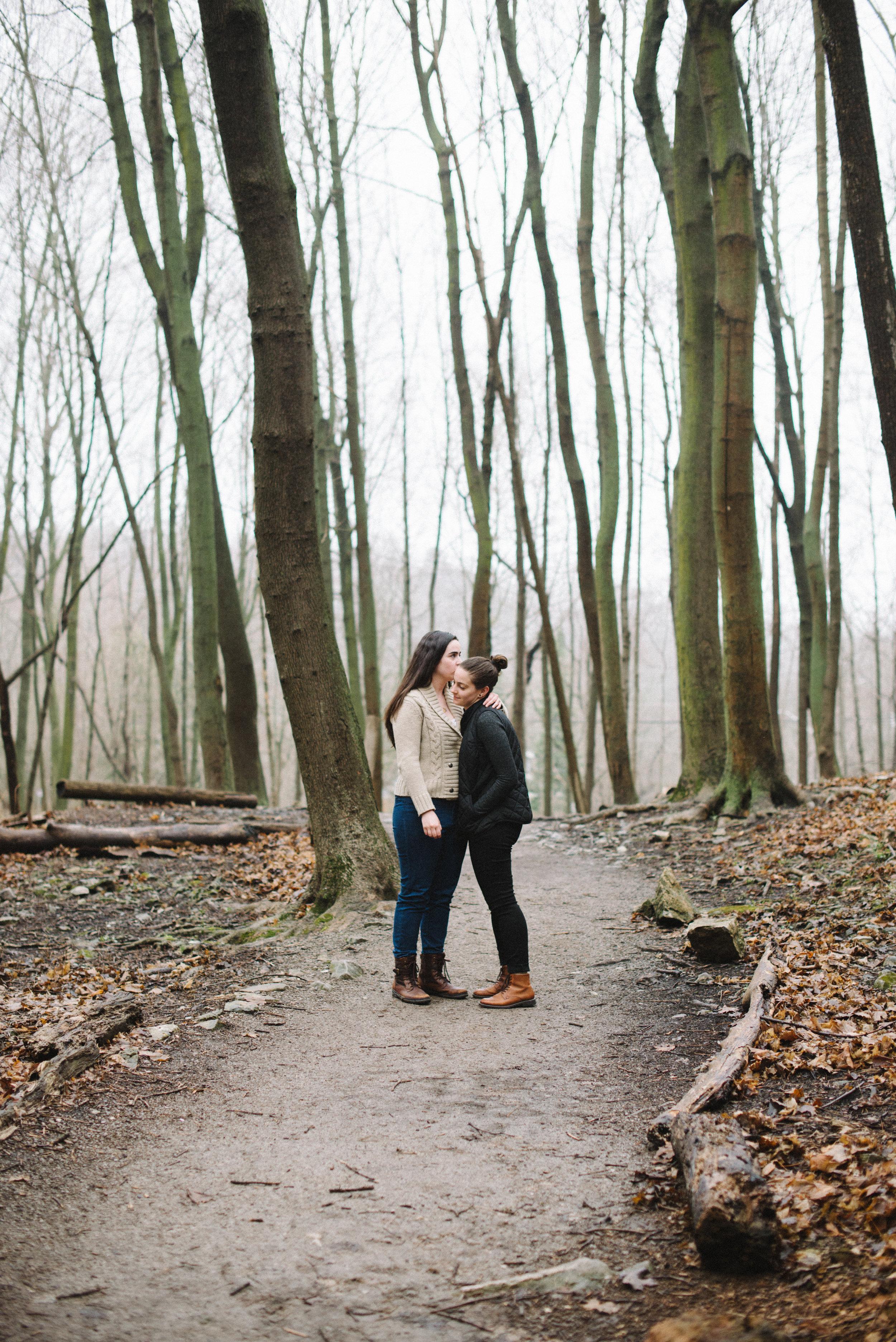 RosewoodWeddingPhotos-TeresaDeanna-EngagementSession-Hamilton-ShermanFalls-Ancaster-Hike-SameSexCouple-LGBTQ-TorontoWeddingPhotographer-Forest-Hike