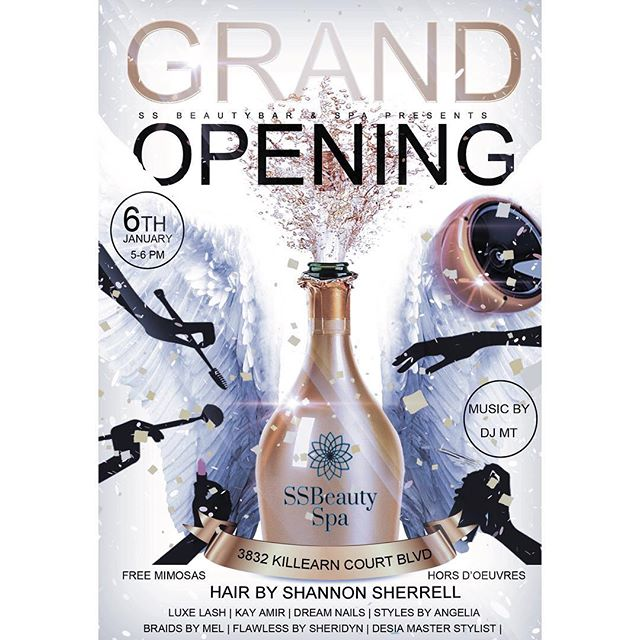 SSBeauty Spa is opening guys !! Come out next Sunday, January 6th 5-6 pm to meet all the SSBeauty Spa and SSBeauty Bar talent and celebrate this moment with us. #SSBeautySpa #SSBeautyBar #TallySpa #TallySalon #KilleranSpa #UpscaleSpa #TallyHair #TallyNails #TallyLashes #TallyMakeup