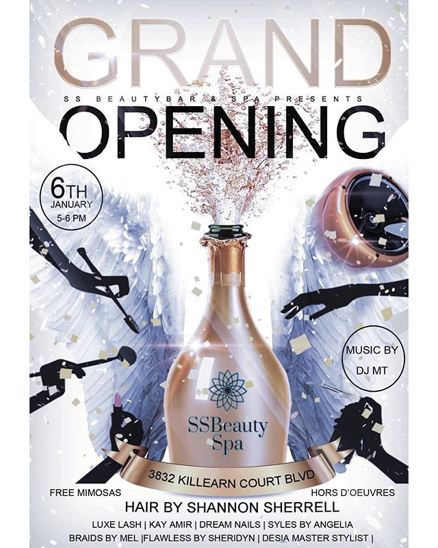 SSBeauty Spa is opening guys !! Come out next Sunday, January 6th 5-6 pm to meet all the SSBeauty Spa and SSBeauty Bar talent and celebrate this moment with us. #SSBeautySpa #SSBeautyBar #TallySpa #TallySalon #KilleranSpa #UpscaleSpa #TallyHair #TallyNails #TallyLashes #TallyMakeup #StylesByAngelia
