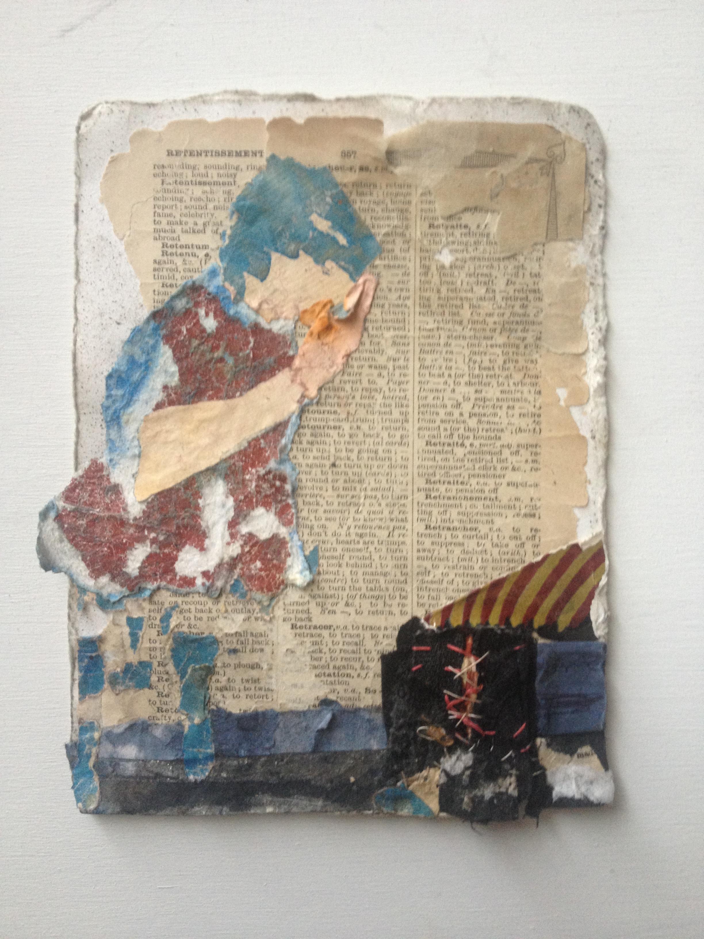 "Dweller, collage, 6.5"" x 5"""