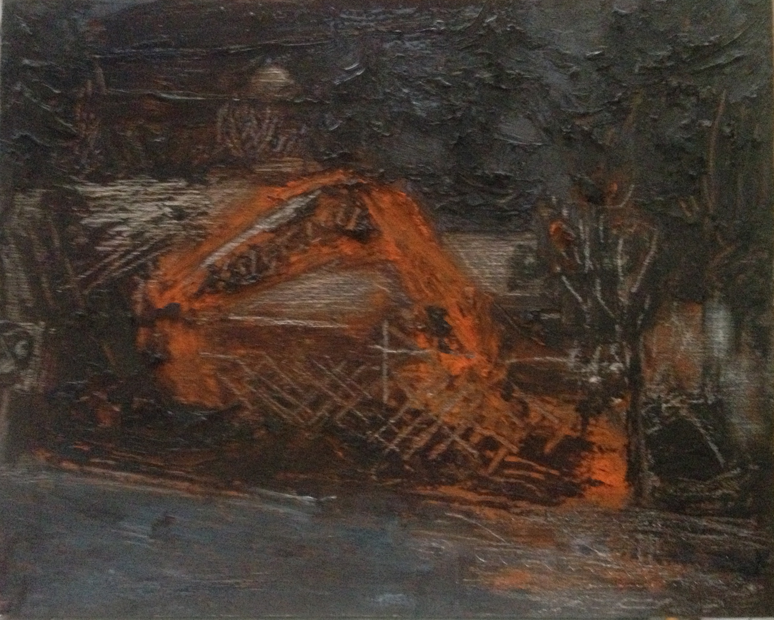 Digger at Night, oil on panel