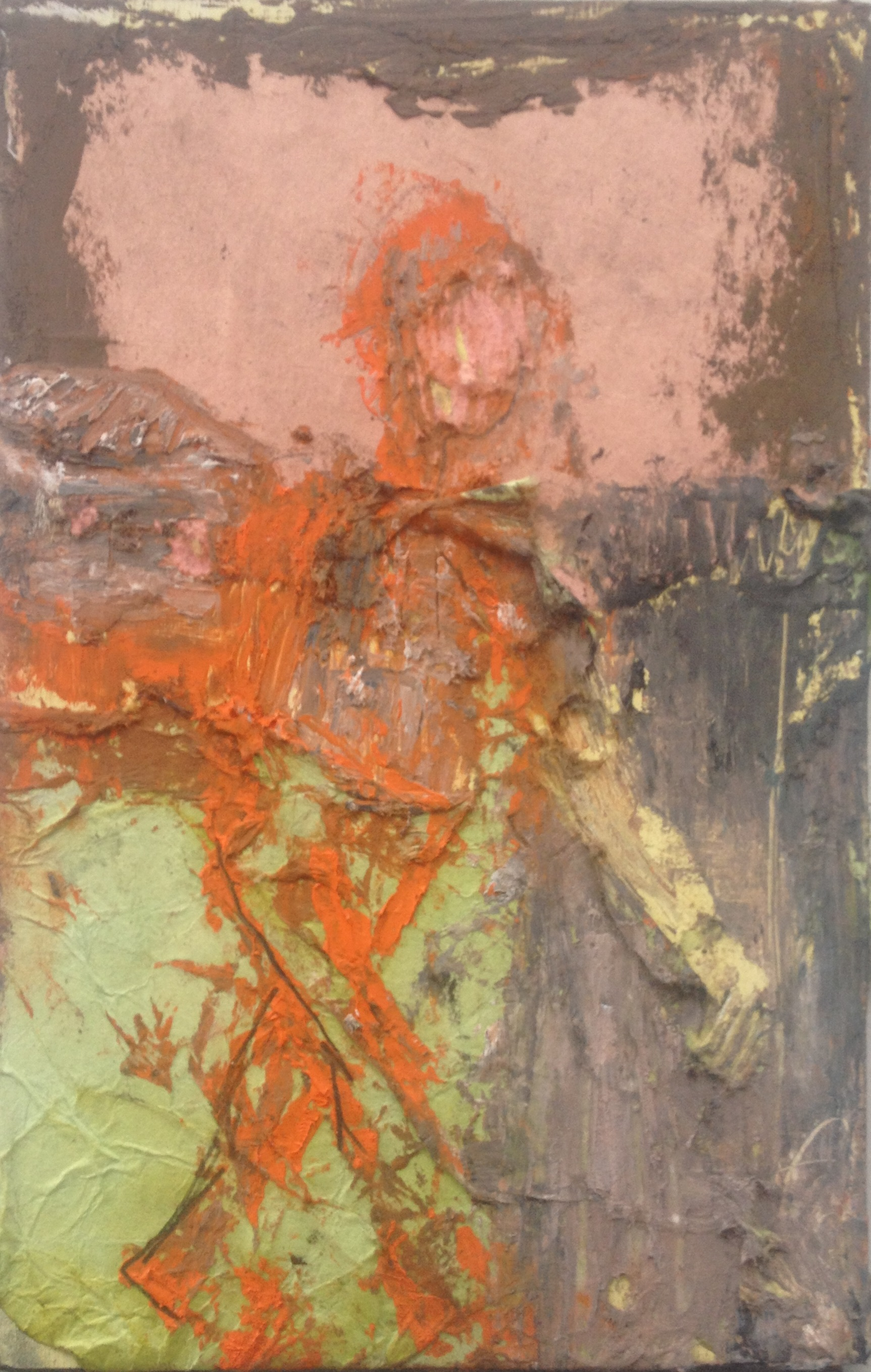 Orange Walker, collage and oil on panel,