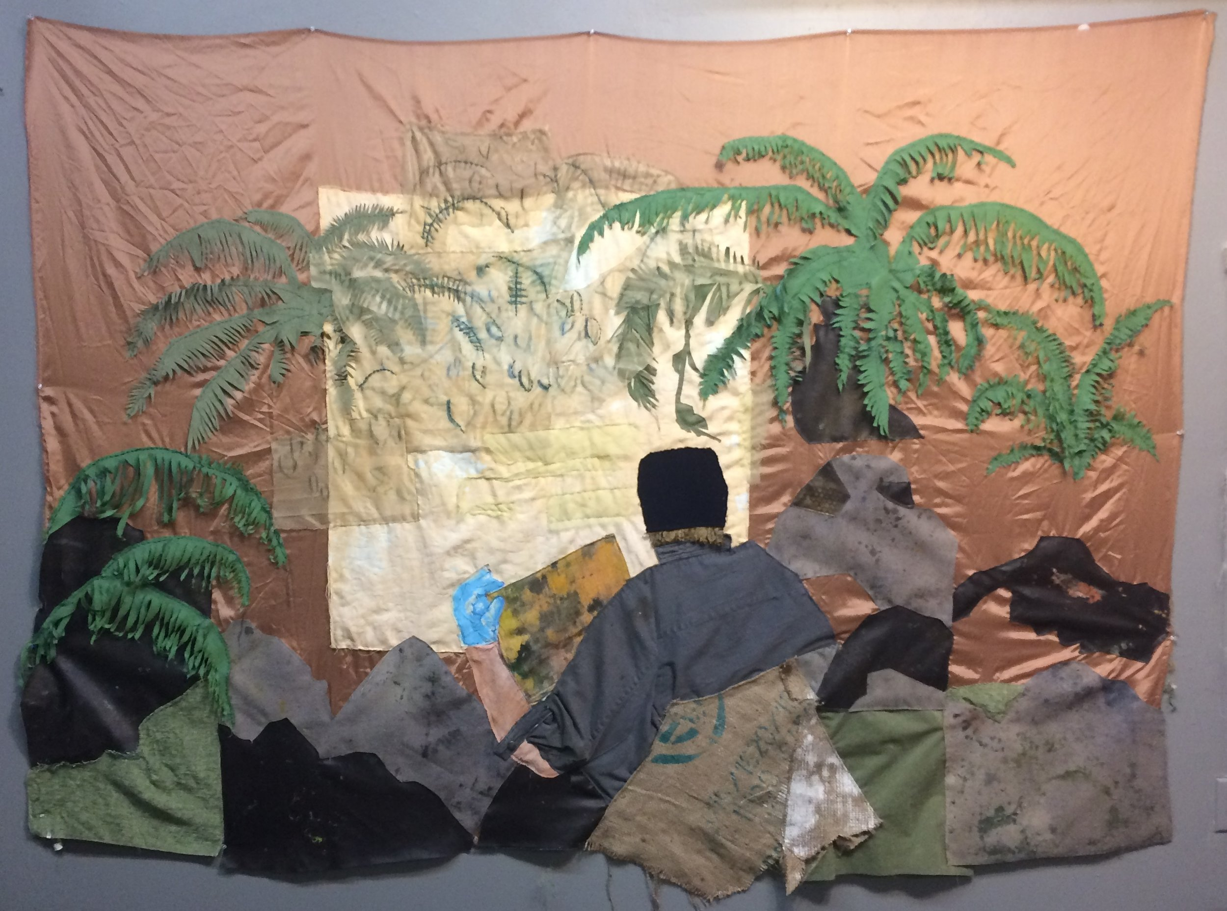 Painter in the ferns, fabric with embroidery and paint, 2017