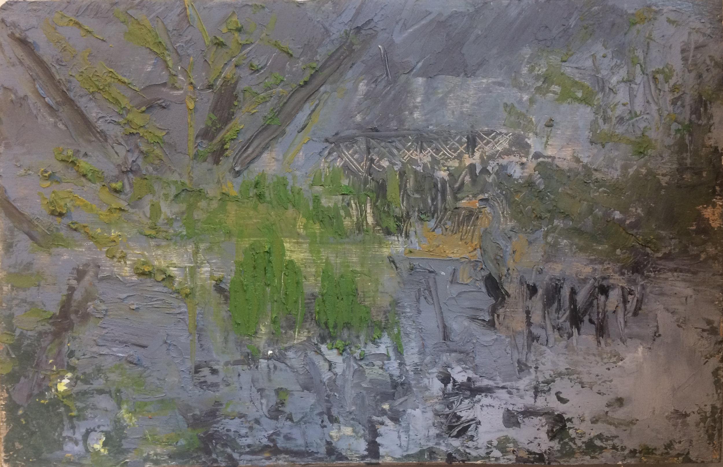Heron in the marsh (mirror), oil on panel, 2017