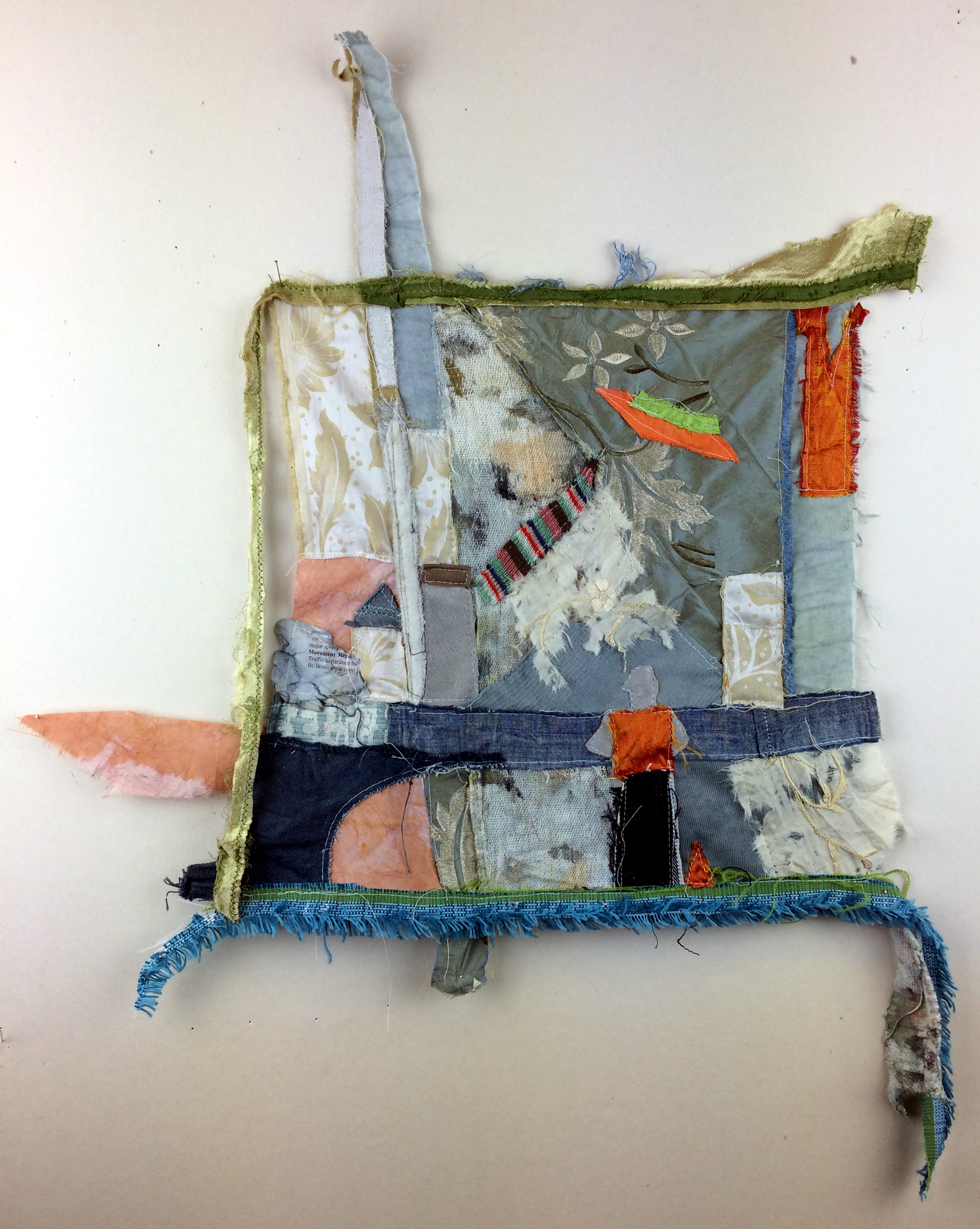 """Builders by the Sea, found and dyed fabric, 20"""" x 19"""", 2017"""
