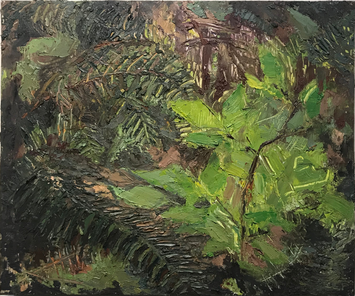 Green Fuse, oil on panel, 14 x 12 in., 2018