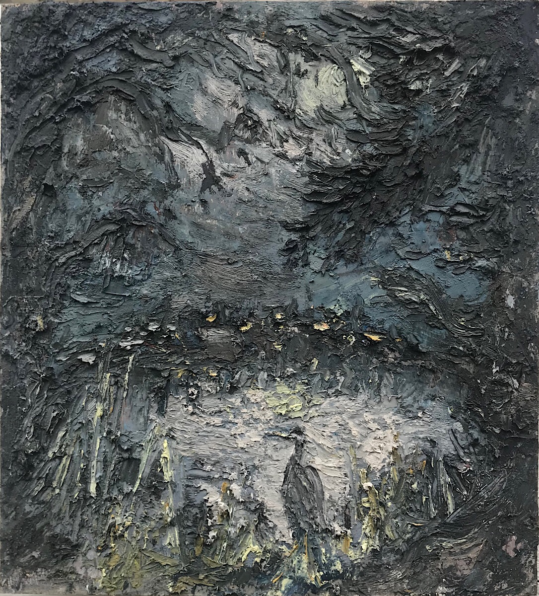 Heron in the Moonlight, oil on panel, 13x 12 in., 2019