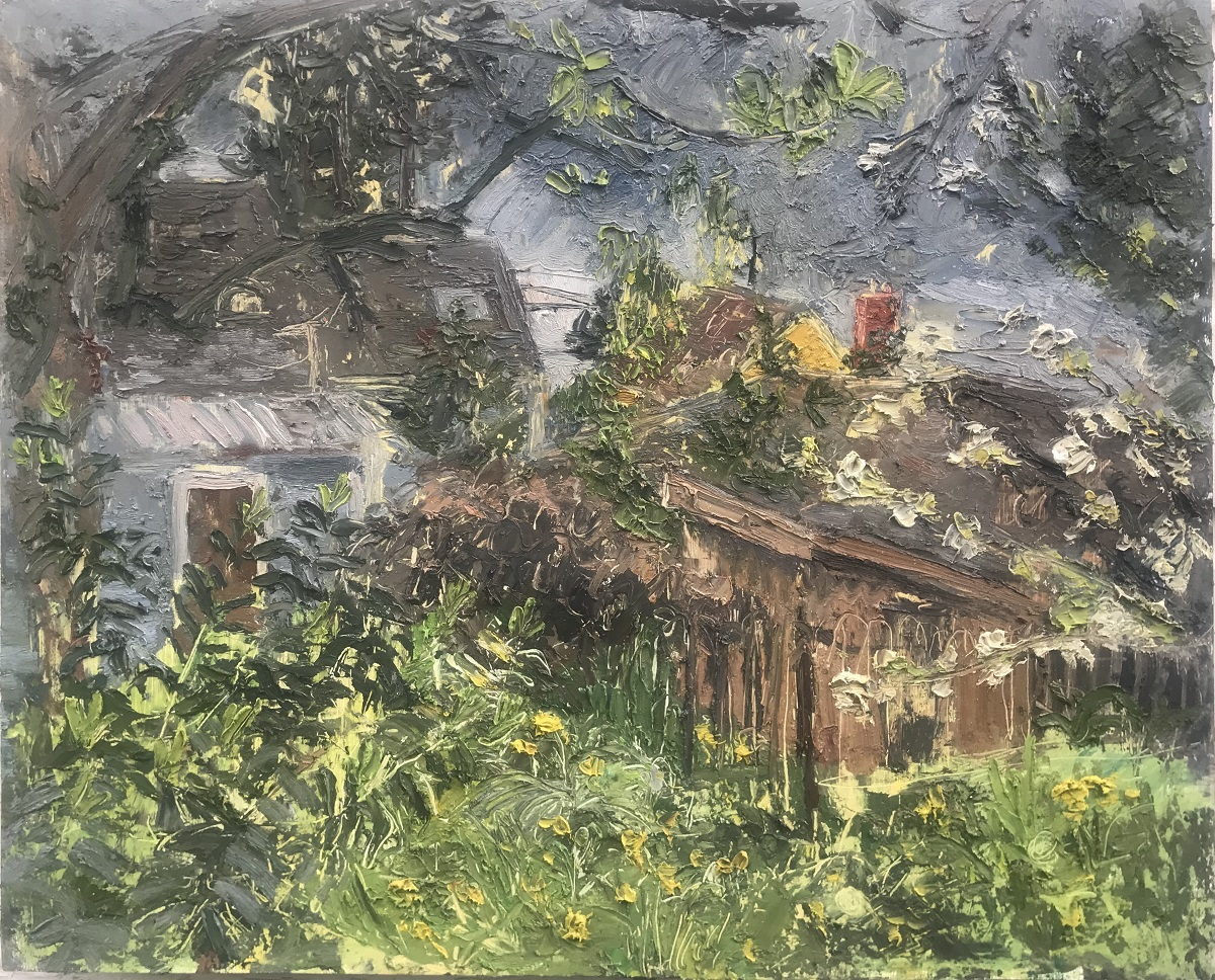 Backyard Before the Rain, oil on panel, 19.375 x 23.75 in.