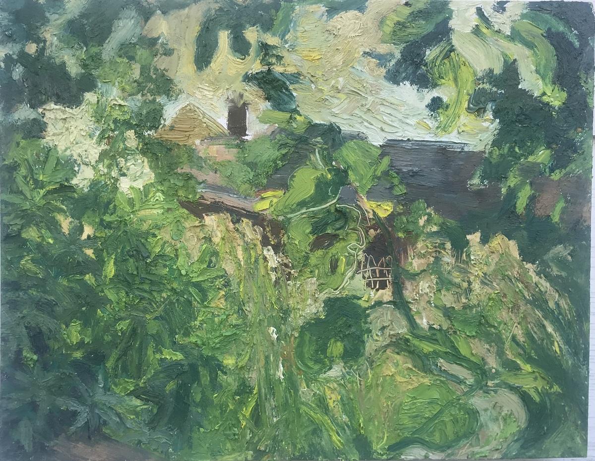 Overgrown Yard, oil on panel, 12.5 x 16 in.