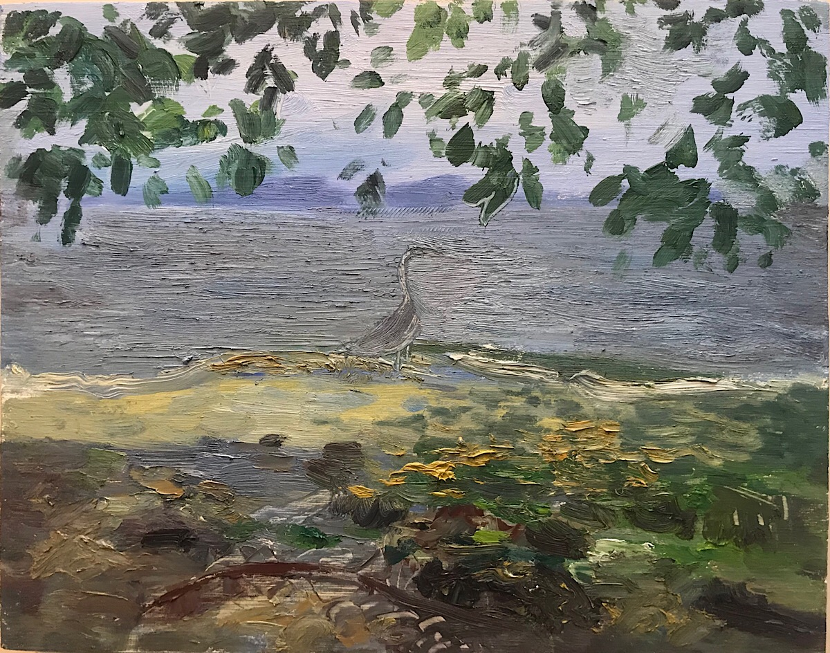Heron by the Vashon Ferry, oil on panel, 11 x 14 in.