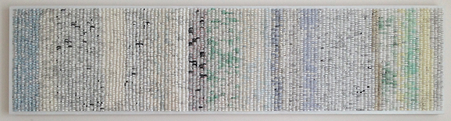 """Shredded: Timeline 1, 2014. Paper collage on wood panel, W48"""" x H12"""" x 1.5""""."""