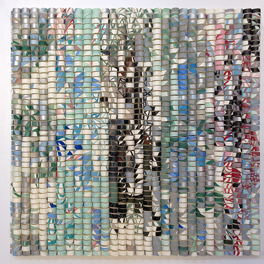 """Shredded: Timeline 5, 2016. H12"""" x W12 x D1.5"""""""". Paper collage on wood panel."""