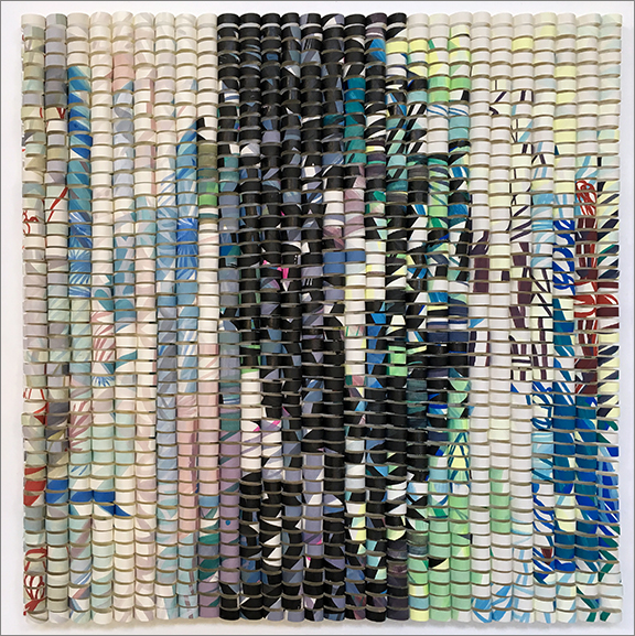 """Shredded: Timeline 6, 2016. H12"""" x W12 x D1.5"""""""". Paper collage on wood panel."""