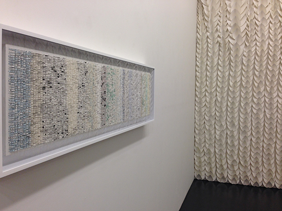 """Robert Henry Contemporary """"Bits & Pieces"""" June 2016, exhibition view. Front: Shredded: Timeline 1, Pauline Galiana. Back: Installation by Liz Jaff."""