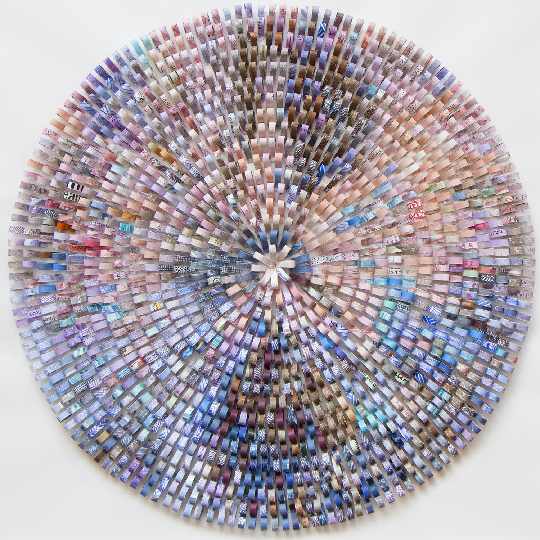 "Shredded Impression 4, 2014, paper collage on Mylar, framed W23"" x H23"" x D1"""