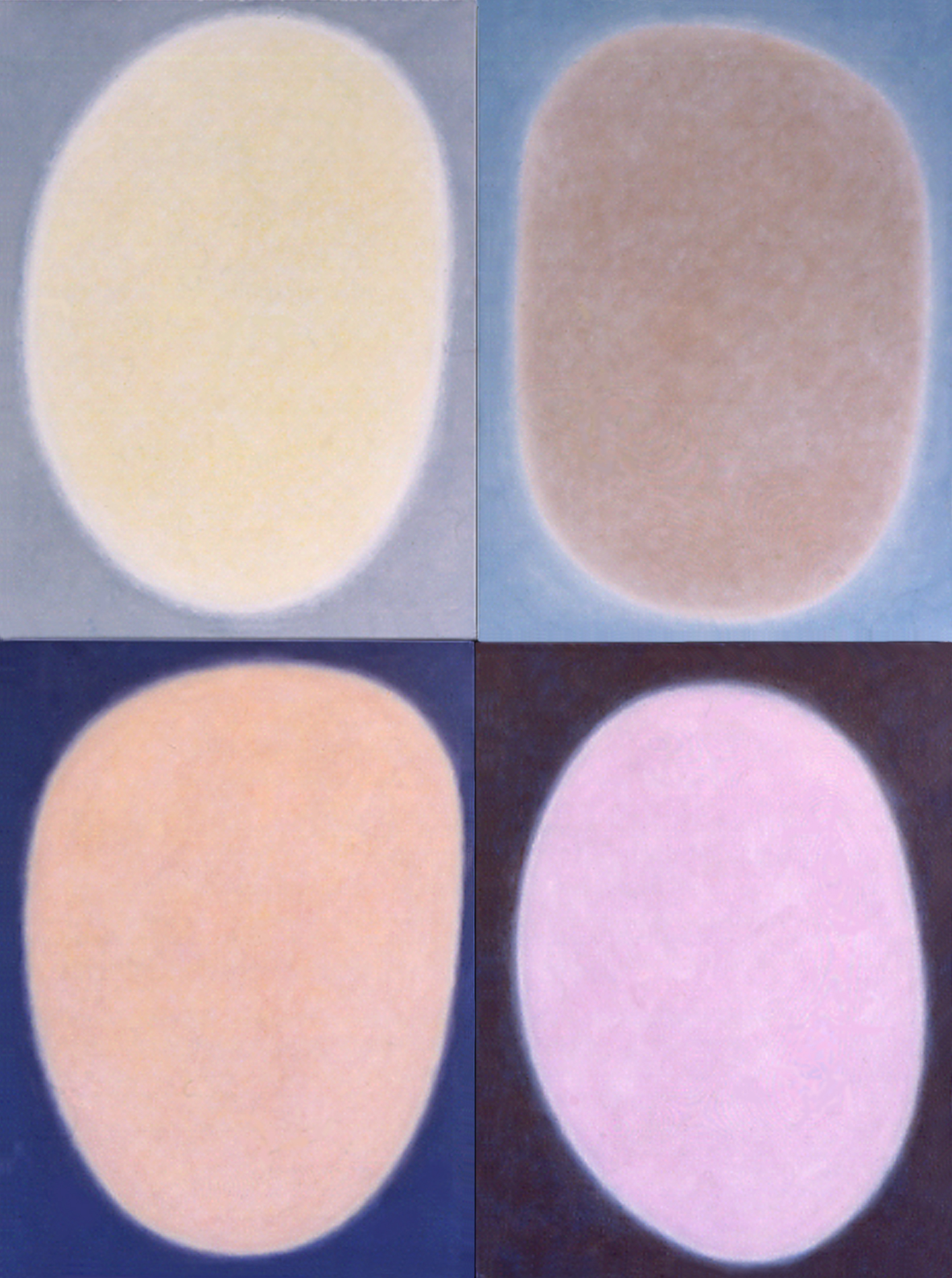 """Silent 8, oil on canvas, 1999, series of 4 panels W18"""" x H24"""" each, total format W36"""" x H48"""""""