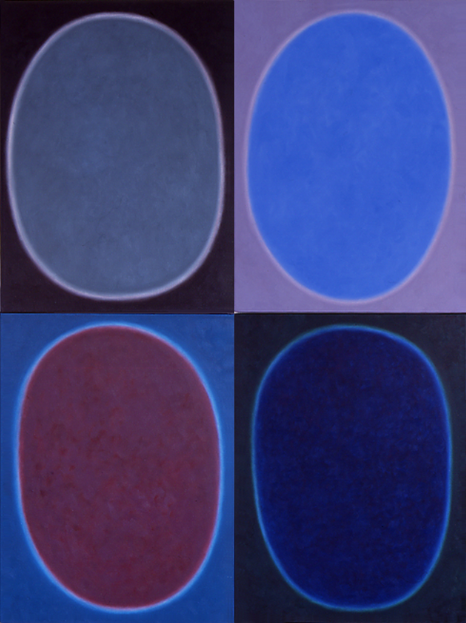"""Silent 9, oil on canvas, 2001, series of 4 panels W18"""" x H24"""" each, total format W36"""" x H48"""". Private collection."""