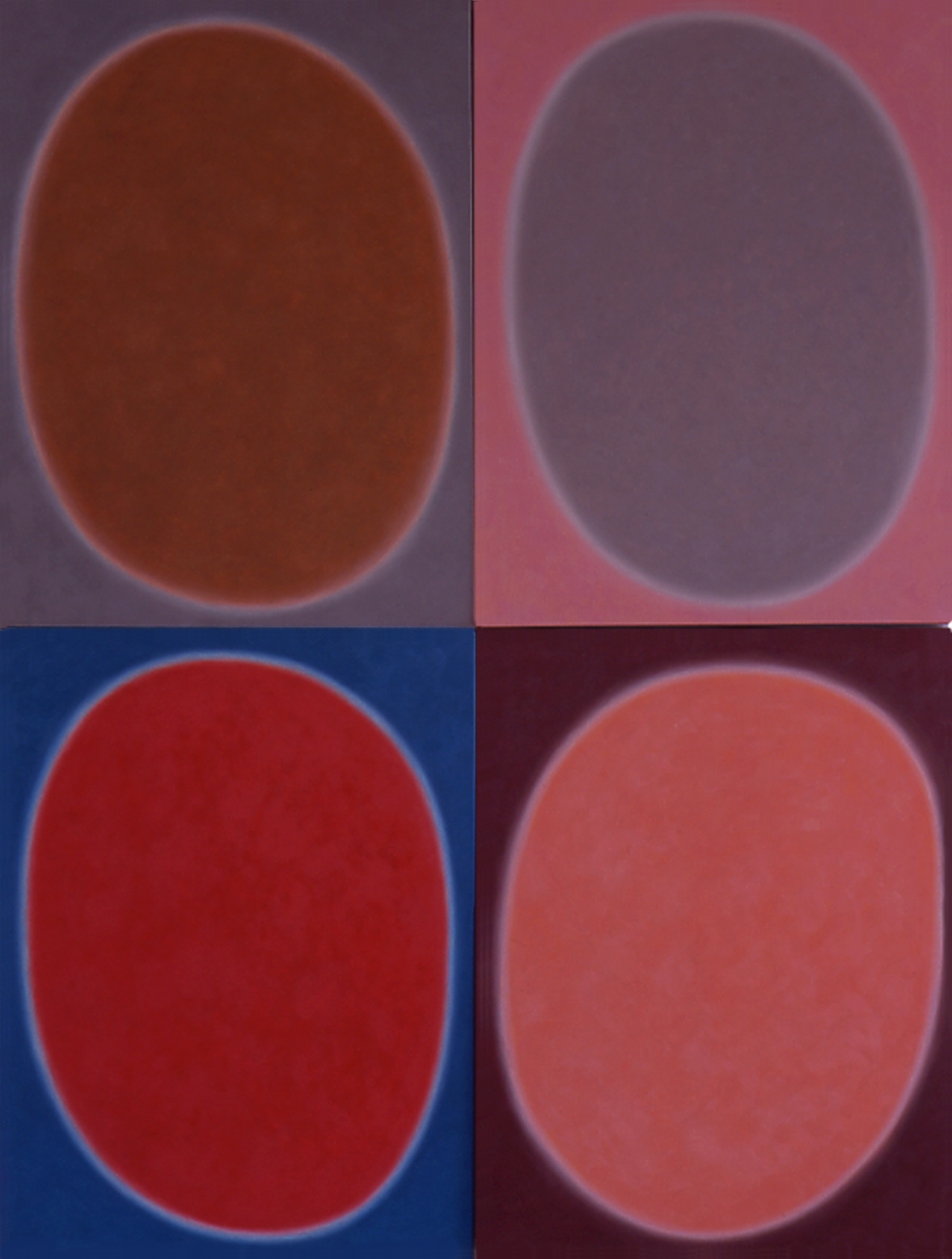 """Silent 10, oil on canvas, 2001, series of 4 panels W18"""" x H24"""" each, total format W36"""" x H48"""". Private collection."""