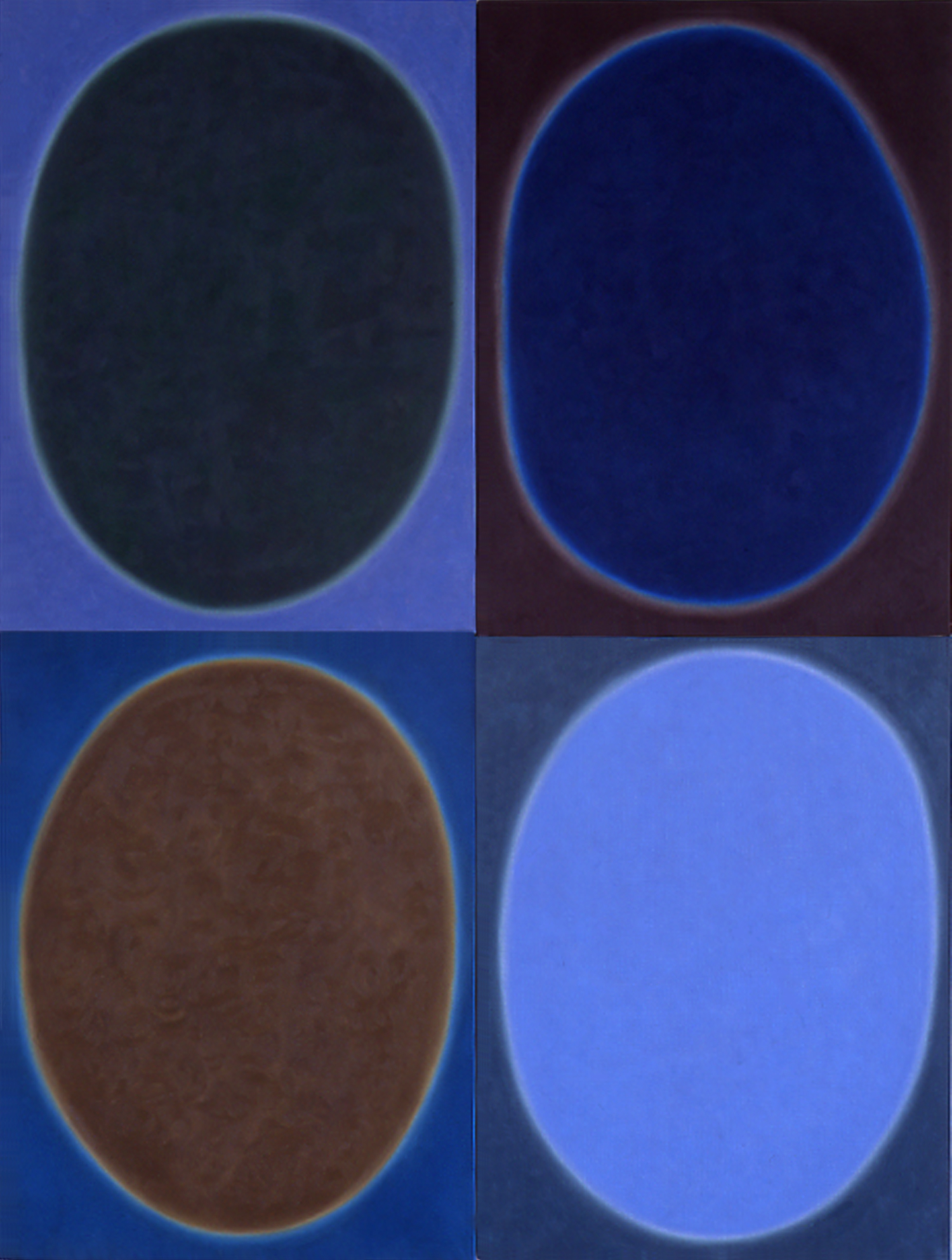"""Silent 12, oil on canvas, 2002, series of 4 panels W18"""" x H24"""" each, total format W36"""" x H48"""". Private collection."""