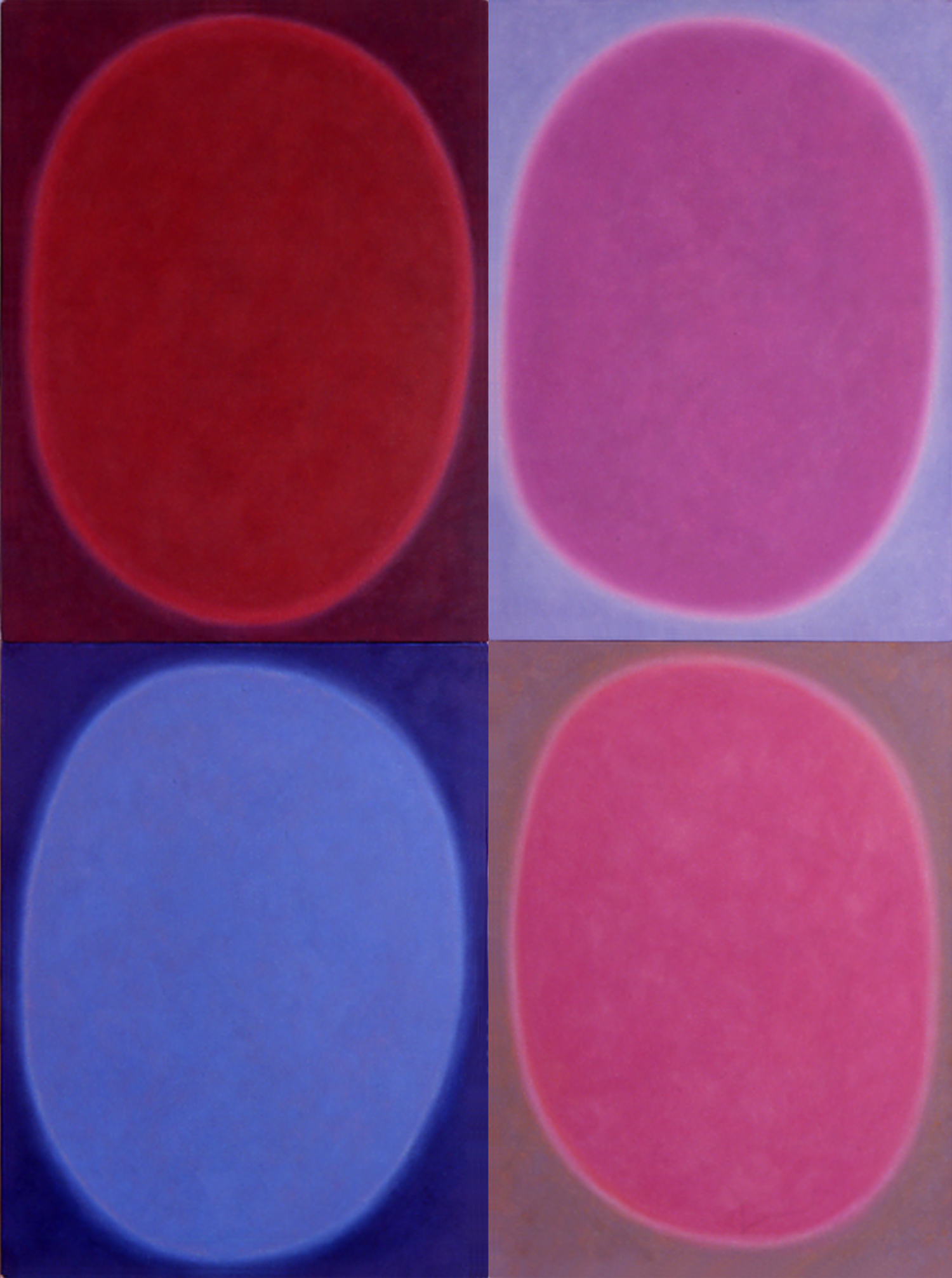 """Silent 13, oil on canvas, 2003, series of 4 panels W18"""" x H24"""" each, total format W36"""" x H48"""". Private collection."""