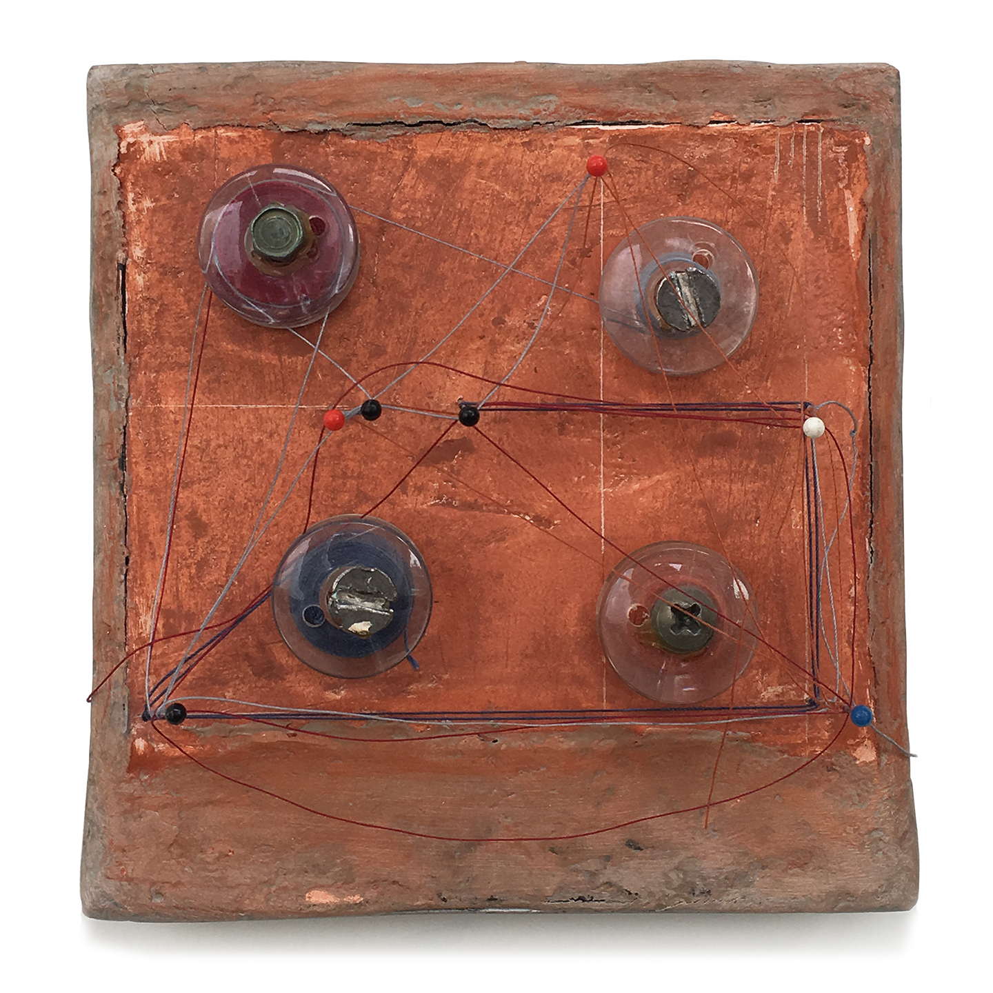 "Box 11, 1998, W4.25"" x H4.25"", Polaroid box, Sculptmetal, Paris plaster, thread and screws."