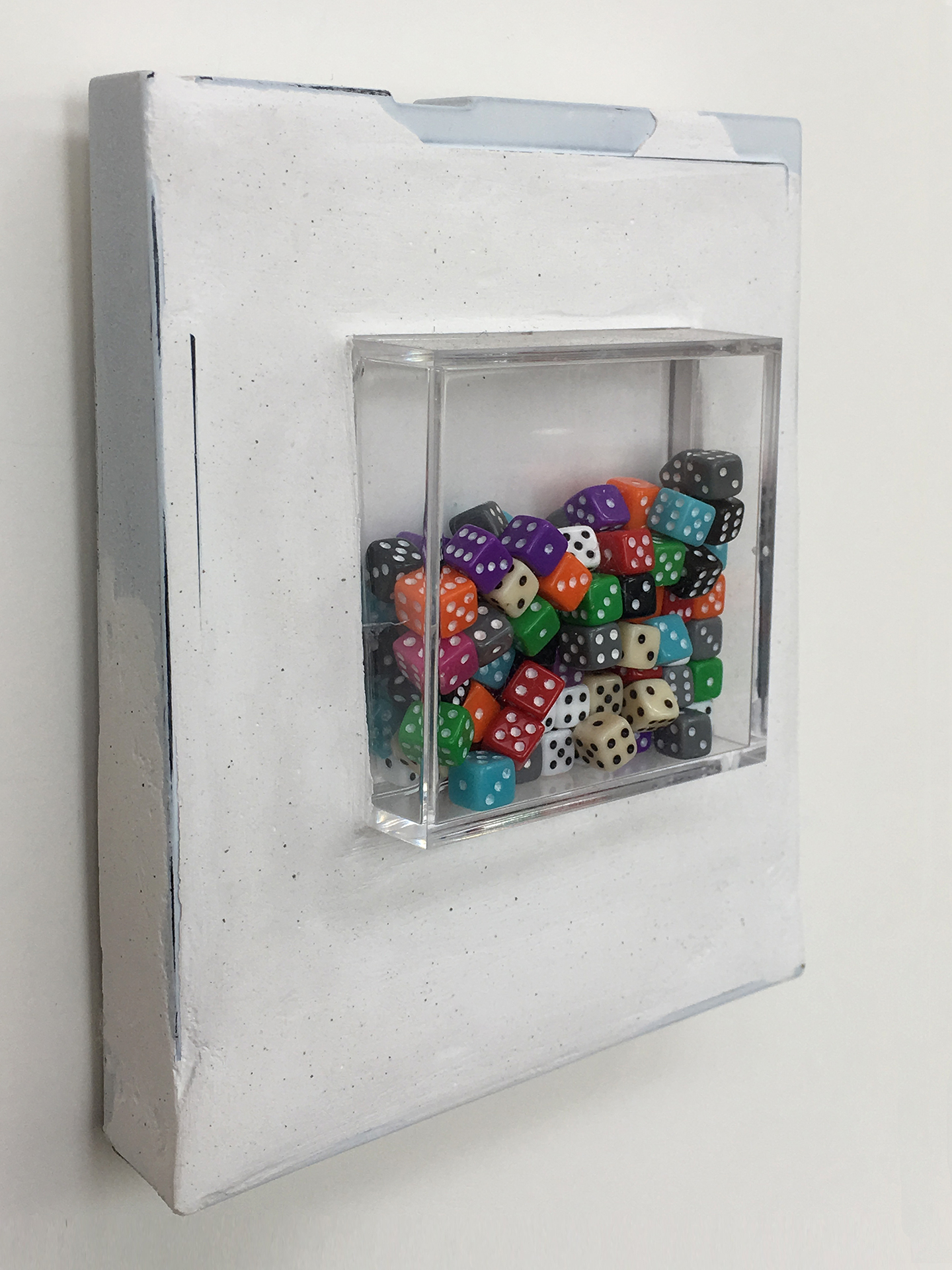 "Box 47 - Chance, 2008. Polaroid box, Paris plaster, plastic box, dice. W3.75"" x H4.25"" x D1""."