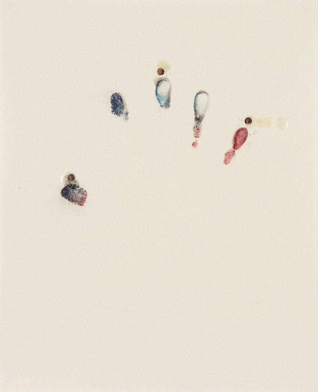 """Self 1, 1999, dry pastel pigment, paper collage and wax on paper, W11"""" x H14""""."""