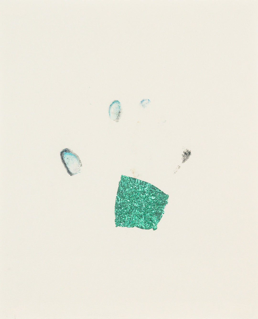 """Self 2, 2001, dry pastel pigment and aluminum foil on paper, W9"""" x H12""""."""