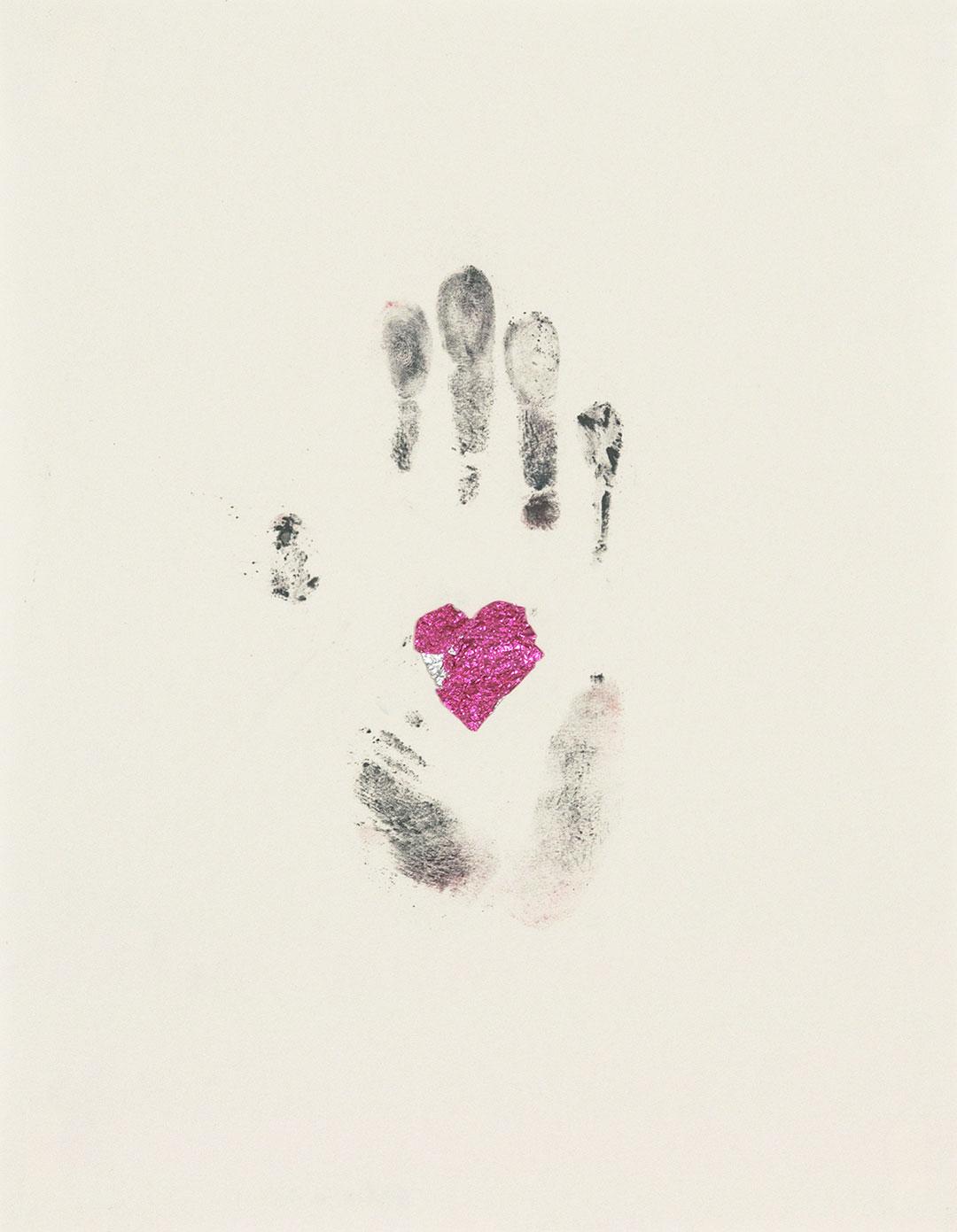 "Self 4, 2003, dry pastel pigment and aluminum foil, W9"" x H12""."