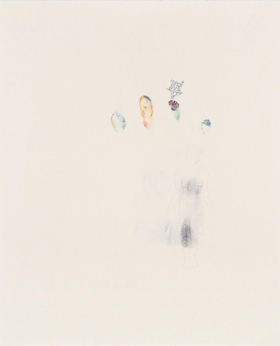"Self 6, 2005, dry pastel pigment, aluminum foil and graphite, W11"" x H14""."