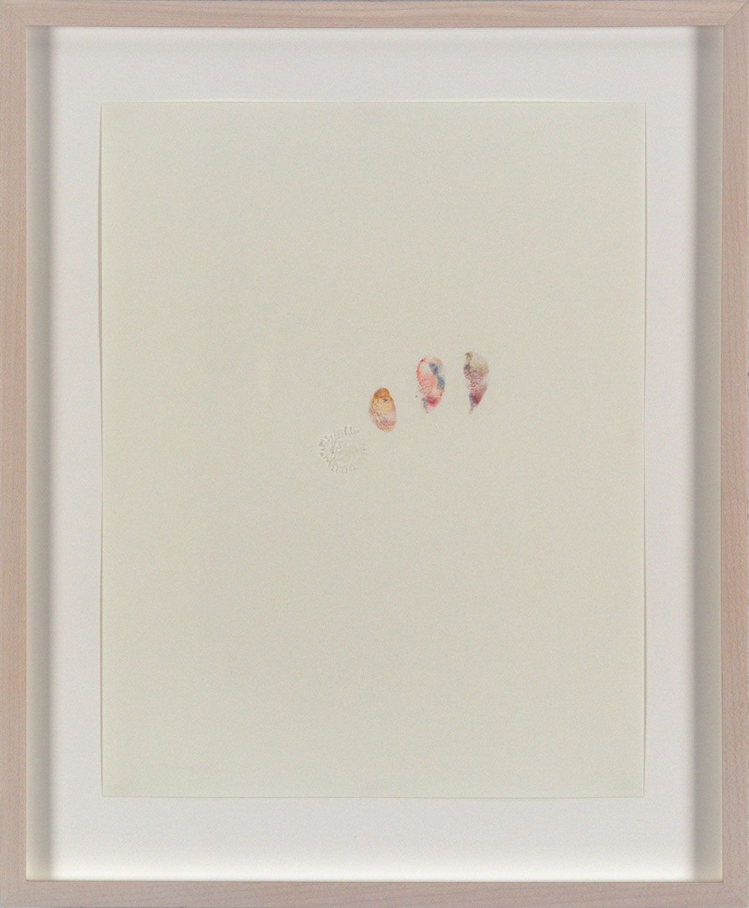 """Self 7, 2005, dry pastel pigment and tracing paper on Strathmore paper. Framed 12.25 x H15"""" x D0.5""""."""