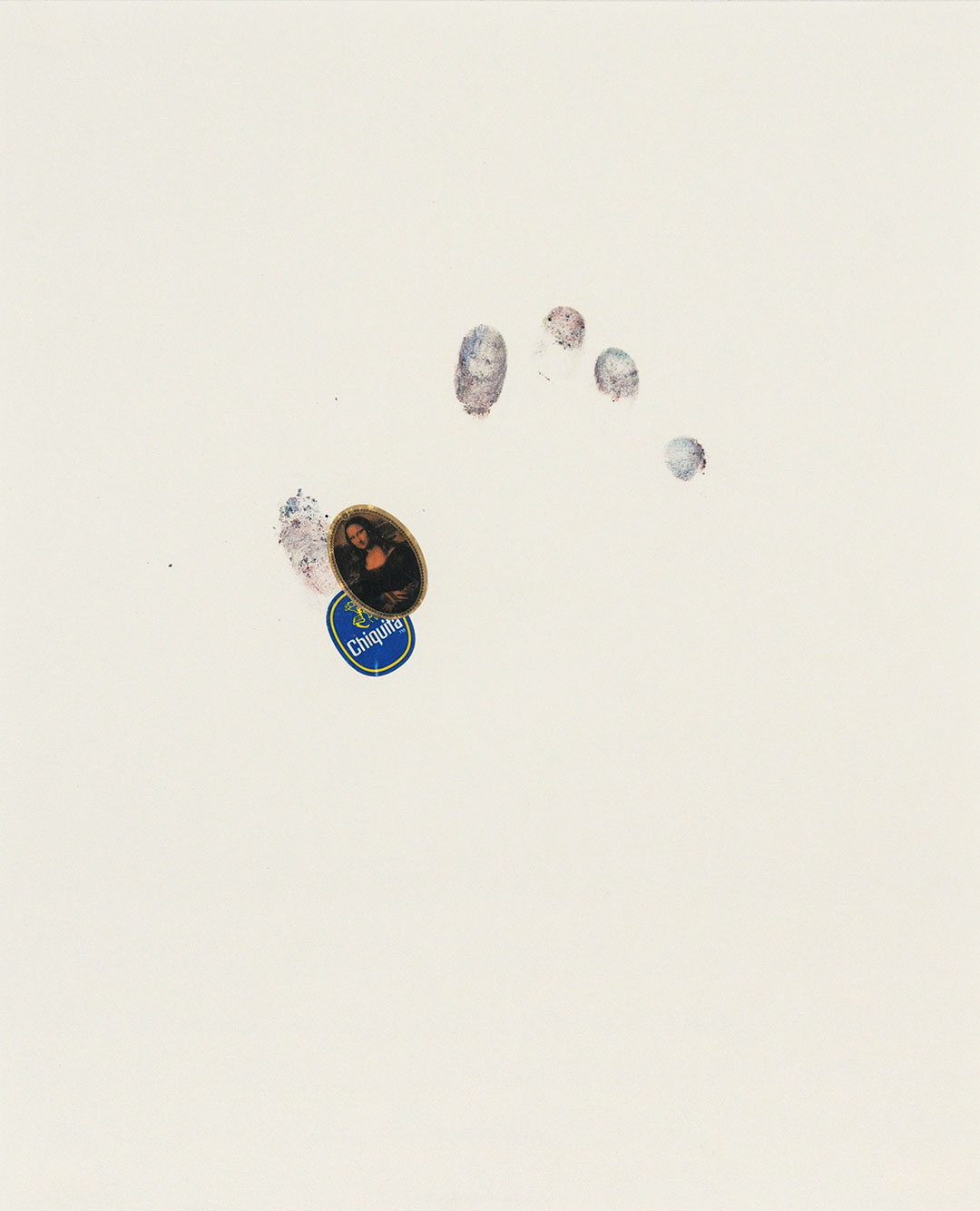 """Self 15, 2008, dry pastel pigment and fruit stickers on Strathmore paper. W11"""" x H14""""."""