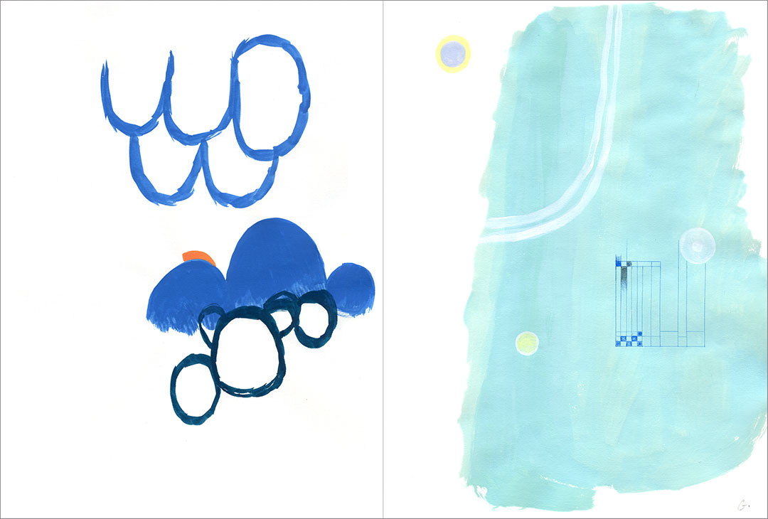 """Talkative (x2) 3, 2001. Gouache on paper, two sheets W9"""" x H12"""" each, side by side."""