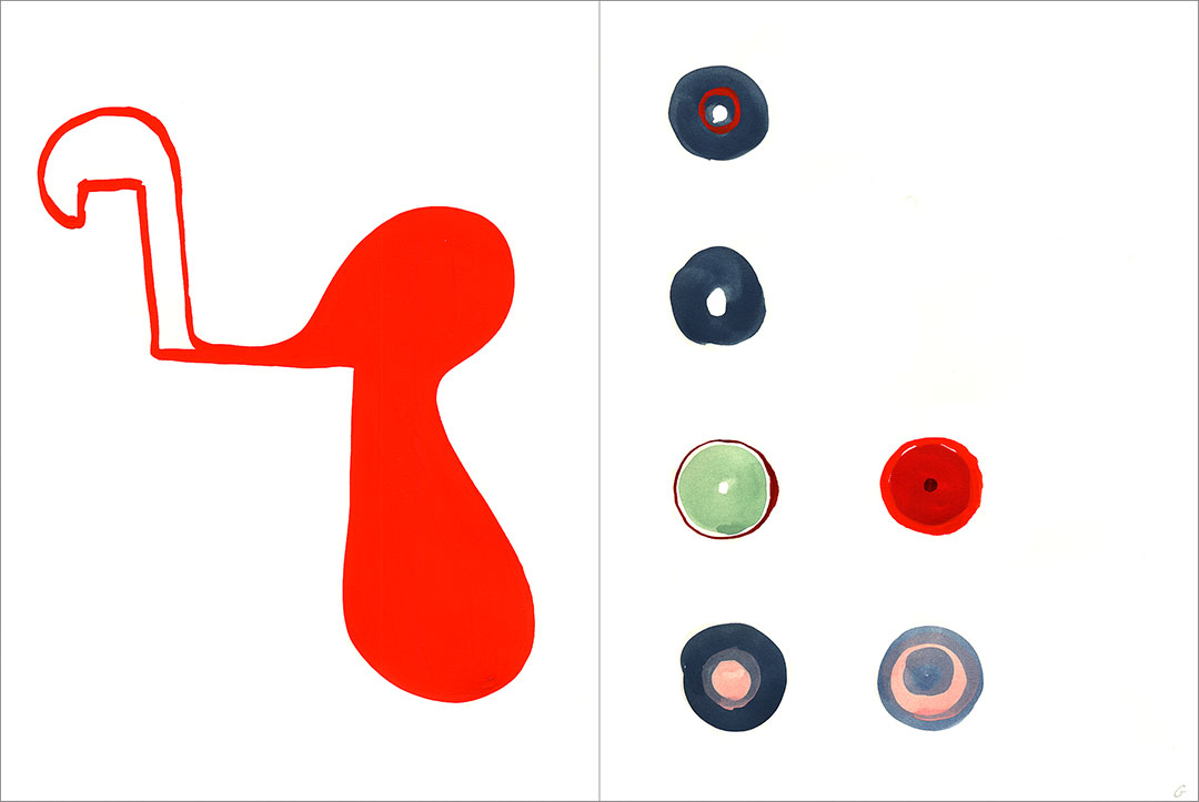 """Talkative (x2) 8, 2004. Gouache on paper, two sheets W9"""" x H12"""" each, side by side."""