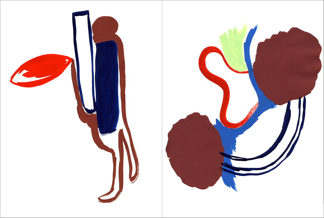 """Talkative (x2) 7, 2003. Gouache on paper, two sheets W9"""" x H12"""" each, side by side."""
