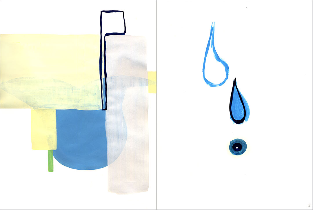 """Talkative (x2) 10, 2004. Gouache on paper, two sheets W9"""" x H12"""" each, side by side."""