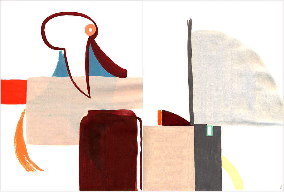 """Talkative (x2) 9, 2004. Gouache on paper, two sheets W9"""" x H12"""" each, side by side."""