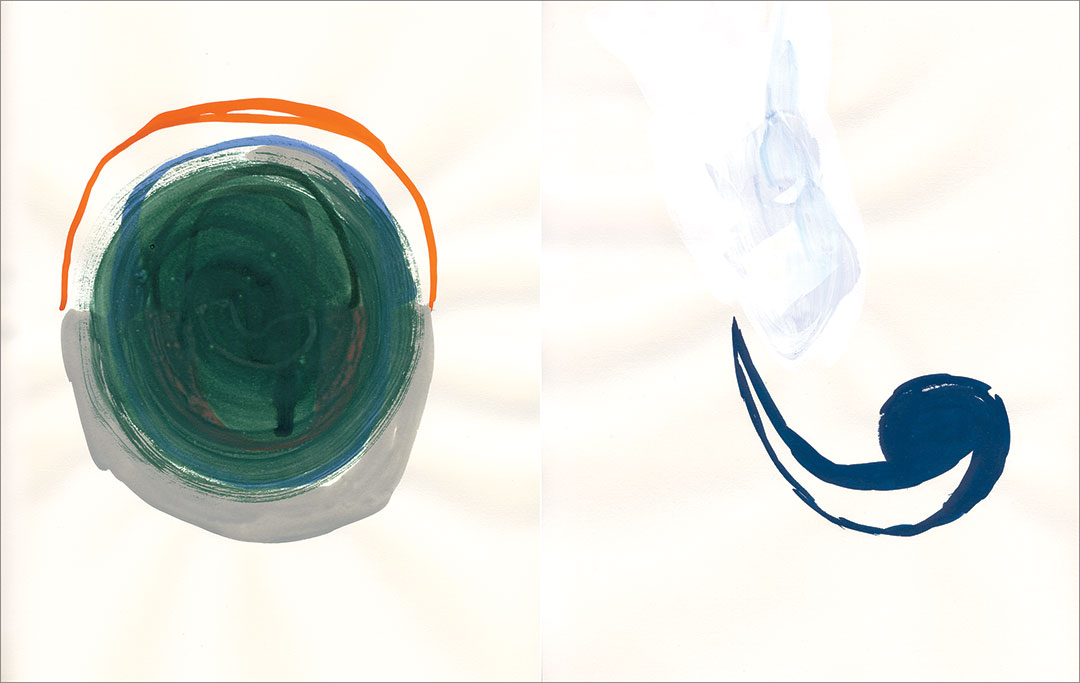 """Talkative (x2) 14, 2008. Gouache on paper, two sheets W9"""" x H12"""" each, side by side."""