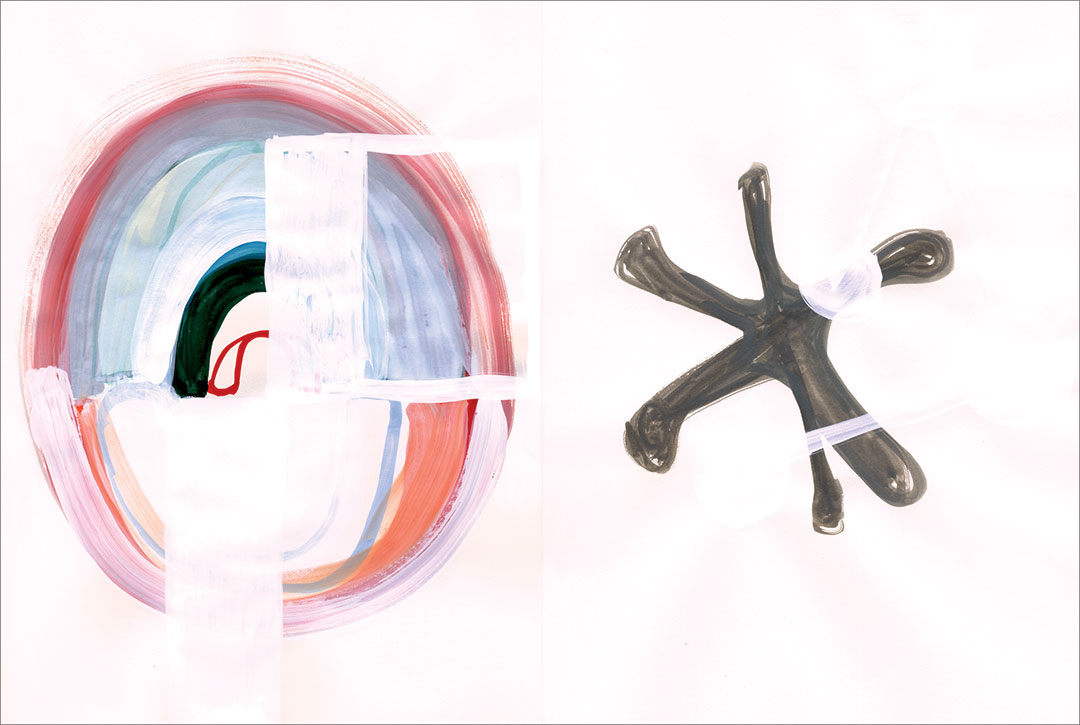 """Talkative (x2) 13, 2008. Gouache on paper, two sheets W9"""" x H12"""" each, side by side."""