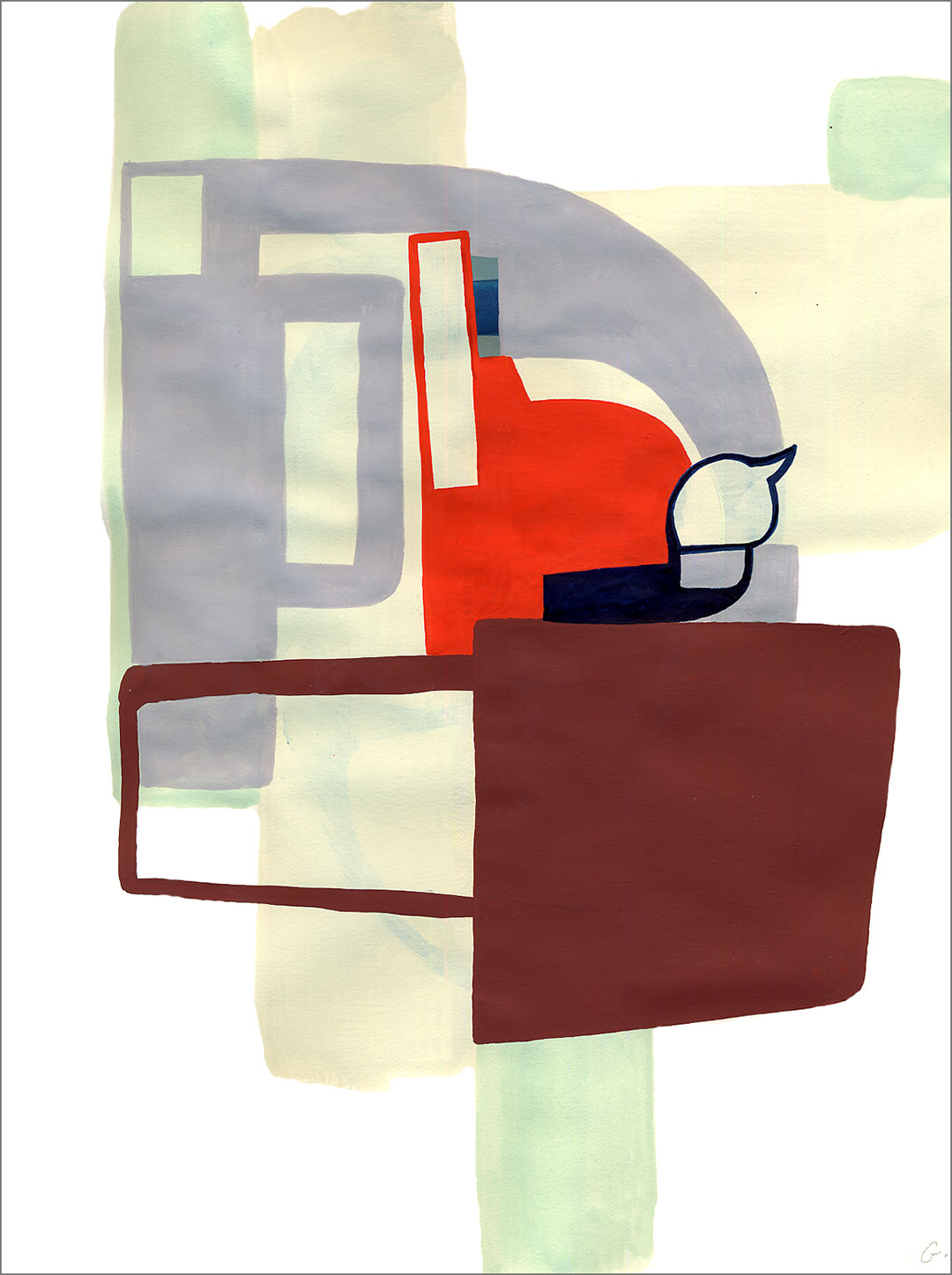 """Fort 6, 2005, W9"""" x H12"""", gouache on paper."""