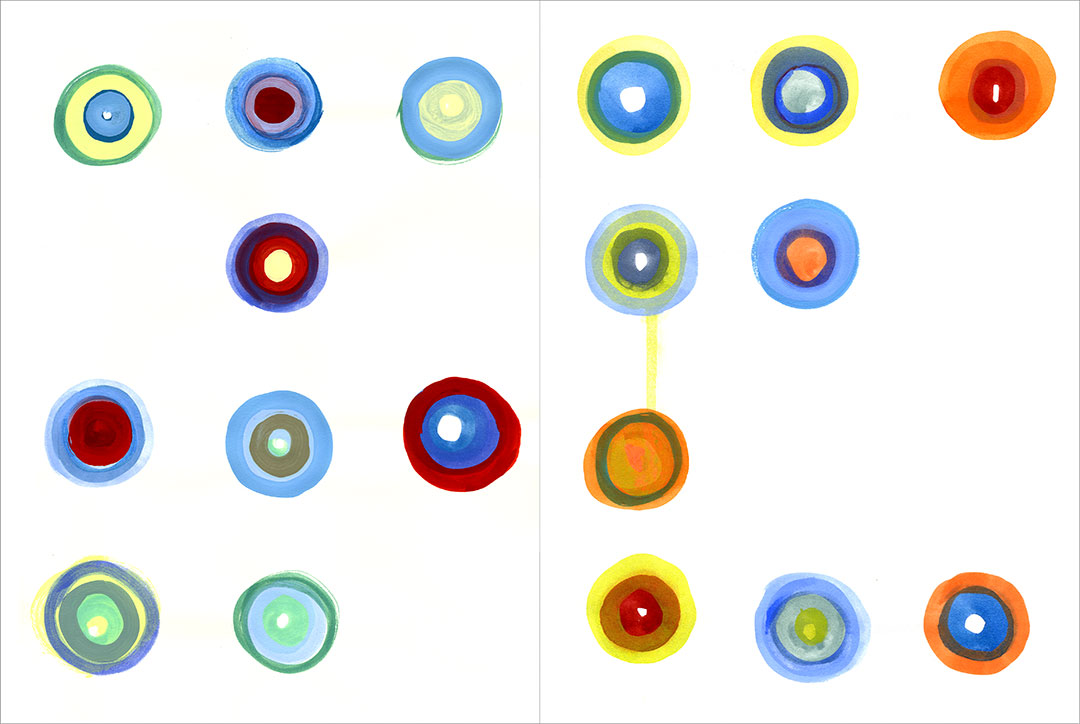 """Talkative Dots (x2) 2, 2004. Gouache on paper, two sheets W9"""" x H12"""" each, side by side."""
