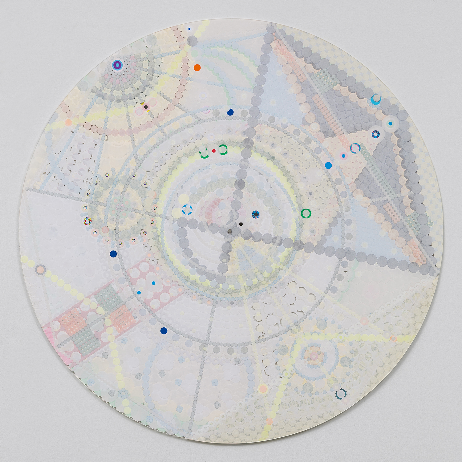 """Fusion Mandala 6, 2015, color coded labels collage on Plexi, 30"""" diameter."""