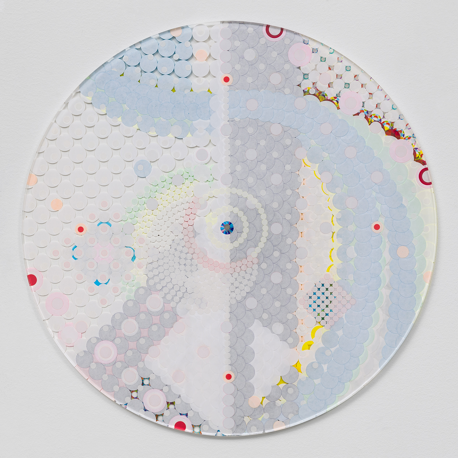 """Fusion Mandala 7, 2015, color coded labels collage on Plexi, 17"""" diameter."""
