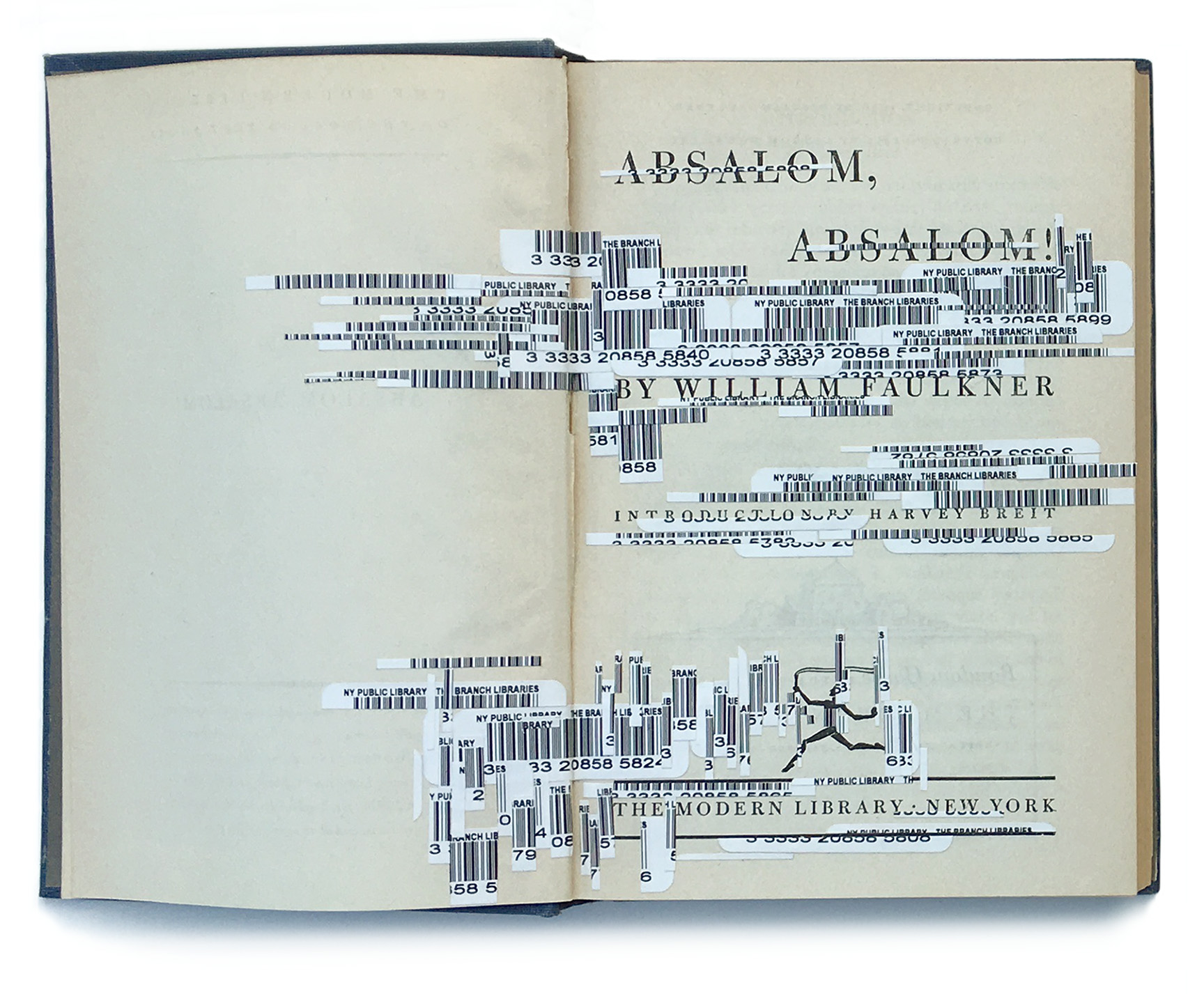 """""""Faulkner's Interferences 1, Absalom, Absalom"""", 2012. Collage on vintage book 1951 edition, H7.25"""" x W9.75"""". Collection of the Muzeul Literaturii Romane Bucharest, Romania."""