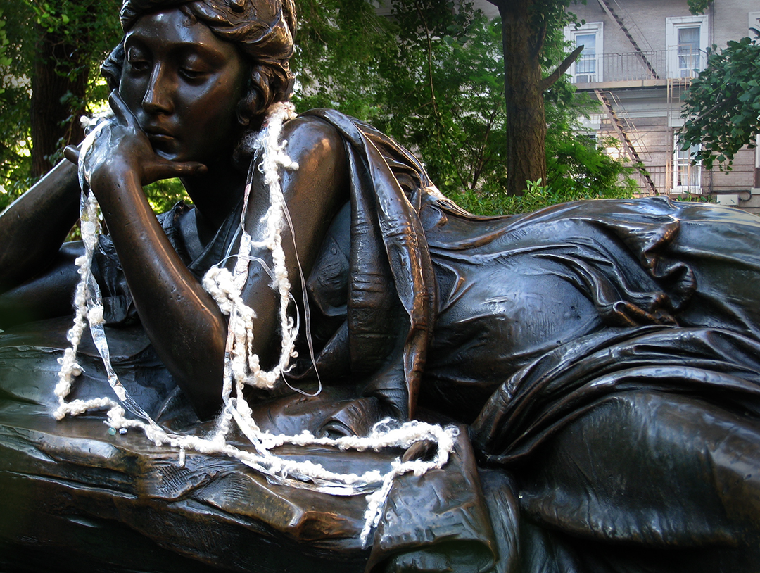 Mother's thoughts, Me As A Goddess 1, 2008. Installation on Straus Monument by sculptor Augustus Luckeman and architect Evarts Tracy, in memory of Isodore and Ida Straus,  at W106th St. NY.
